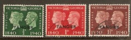 MOROCCO AGENCIES (TANGIER) 1940 STAMP CENTENARY SET COMPLETE SG 248/250 FINE USED Cat £21 - Oficinas En  Marruecos / Tanger : (...-1958