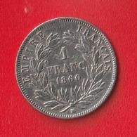 "1 FRANC "" NAPOLEON III, Tête Nue "" 1860BB Abeille  TB+/TTB - H. 1 Franc"