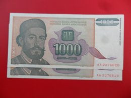 Yugoslavia-Jugoslavija 1000 Dinara 1994, P-140a, Numbers In A Row, Price For Both Notes, - - - 100235 - - - - Jugoslavia