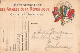 Carte Correspondance Franchise Militaire Cachet Tresor Postes 1915 - Postmark Collection (Covers)