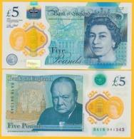 England 5 Pounds P-394 2015(2016) UNC Polymer Banknote - Gran Bretagna