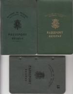 Belgique 3x Passport, Reisepass, Passeport, Passaporte, Paspoort, Reispas 1948 - 1948 - 1952 - Historical Documents