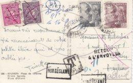 CP Affr 1 Piastre 25 Cts Obl MADRID Du 16.9.53 Adressée à Oran Taxée - 1931-Hoy: 2ª República - ... Juan Carlos I