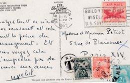 CP Affr 6 Cent Obl NEW YORK Du 15 JAN 1952 Adressée à Paris Taxée 62 F - Etats-Unis