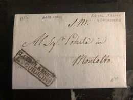1813 Montalto Italy Royal Italian Gendarmerie Stampless Letter Cover Napoleonic - Italy