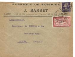 PERFORE J.B. J. Barret Paris Sur 35c Semeuse Coupé + 40c Merson 1924 ..G - Francia