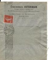 PERFORE E.H. HUTCHINSON Paris Sur 10c Semeuse 11.9.1912 .. ..G - Perfins