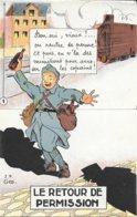 """MILITARIA HUMORISTIQUE Par J.P. GOD - Carte à Système, Dépliant 5 Volets - """" LE RETOUR DE PERMISSION """"  - T.B.E. - Humoristiques"""