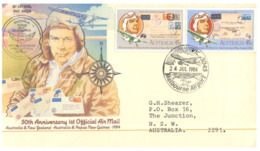 (ED 43) Australia FDC Cover - 1984 - 50th Anniversary 1st Official Air Mail Australia To New Zealand & Papua New Guinea - Posta