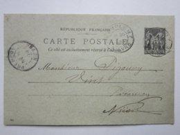 France Entier Postal Timbre Type Sage 10c Noir Carte Postale Vert Oblitéré CHAMPLEMY 58 >Prémery (58) 26/07/1899 Signée - Entiers Postaux