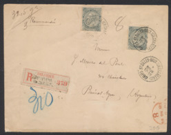 Fine Barbe - N°63 X2 SBD Sur Lettre En Recommandé (32,5 Gr, 3 Port) De St-Gilles.Brux Vers Buenoes Aires (Argentine) - 1893-1900 Schmaler Bart