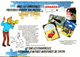 "PUB CONFITURE "" ANDROS "" Et  "" PUZZLES TINTIN  ""   1981 ( 2 ) - Livres, BD, Revues"