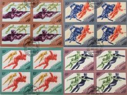 USSR Russia 1984 - 4 Block Sarajevo Winter Olympic Games Figure Speed Skating Ice Hockey Sports CTO Mi 5352-5355 - Winter 1984: Sarajevo