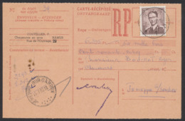 Lunettes - 7,5F Sur Carte Récepissé (RP) D'un Montant De 6,395Fr Expédiée De Namur (1960) Vers Jemeppe-S-Sambre - 1953-1972 Anteojos