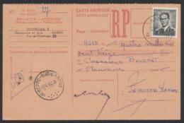 Lunettes - 6,5F Sur Carte Récepissé (RP) D'un Montant De 4,613Fr Expédiée De Namur (1960) Vers Jemeppe-S-Sambre - 1953-1972 Brillen