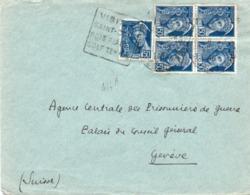 LETTRE AFFRANCHIE N°414 A BLOC DE 4 + 1 -OBLITERATION DAGUIN - VISITER SAINT-CAST-BOIS PLAGE -GOLF-TENNIS - - 1938-42 Mercurio