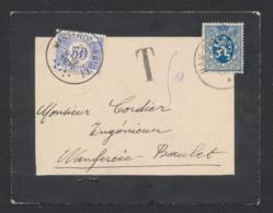 Carte Mortuaire Expédiée De Ham-S-Sambre Vers Wanfercée-Baulet + TX38 (Tarif Correct). - Portomarken