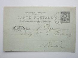 Carte Postale Verte, France Timbre Entier Postal Type Sage 10c Noir, Oblitéré Champlemy & Prémery (58) 19/05/1900 Signée - Entiers Postaux