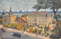 """M08762 """"NEUCHATEL-HOTEL TERMINUS ET HOTEL DES ALPES"""" TRAMWAY-CART. ORIG. SPED. 1912 - NE Neuchâtel"""