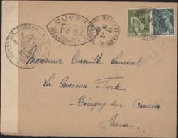 Guerre 39 YT Mercure 411 + Paix 284 A Censure Déesse Contrôle Postal Commission FB + Ovale FB82 Bar Le Duc - Guerra De 1939-45