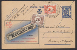 """Publibel N°556 """"Aspirine"""" Expédiée De Koekelberg (1946) Vers Berchem Annulé à La Plume Et Taxé à 50ctm Par TX34 Et 35. - Interi Postali"""