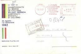 COMITATO ORGANIZZATORE CAMPIONATI MONDIALI DI CICLISMO BRESCIA - Marcofilia - EMA ( Maquina De Huellas A Franquear)
