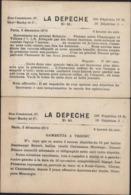 Guerre 1870 Siège De Paris 2 Cartes Journaux Journal La Dépêche N°80 + 81 Ballon Monté - Guerre De 1870