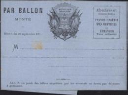Guerre 1870 Siège De Paris Lettre Formule Illustré Par Ballon Monté Neuve Non Utilisée - Guerra Del 1870