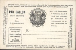 Guerre 1870 Siège De Paris Carte Avec Texte Patriotique Par Ballon Non Monté Neuve Crème - Marcophilie (Lettres)