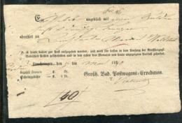 Baden / 1840 / Postschein Ortsdruck Lauchringen, Durchgestrichen U. Hs. Aufgabeort (0624) - ...-1849 Vorphilatelie