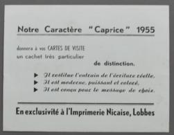 Buvard - Imprimerie Nicaise, Lobbes - 1955 - Format : 11,5 X 15 Cm - Papeterie