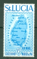 St Lucia: 1967   Map Of St Lucia    MH - Ste Lucie (...-1978)