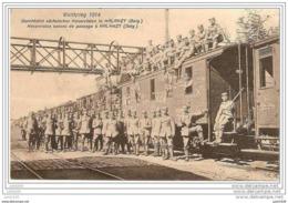HALANZY ..-- MILITARIA 1914 . Soldats Allemands De Passage à HALANZY . TRAIN . - Aubange