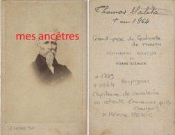 CDV Vers 1860-Thomas SALETA Capitaine De Cavalerie En Retraite 1789/1864 Perpignan Ep MERIC Hélène-photo Pierre Germain - Krieg, Militär