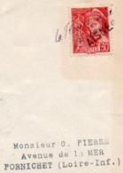 LETTRE AFFRANCHIE N° 412 AVEC ANNULATION  DE FORTUNE- LA FLAMENGRIE - 15-10-40- AISNE - Poststempel (Briefe)