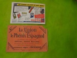 De 2 Buvards Assurances La Union Et Le Phenix Espagnol & La Pile Mazda - Banque & Assurance
