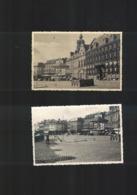 BELGIQUE MONS 2 PHOTOS ORIGINALES TRES RARE  PRÉPARATION DU TERRAIN DU JEU DE PAUME GRAND'PLACE EN +- 1950 - Mons