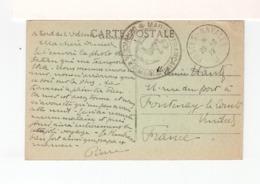 Sur CPA Bord De L'Odessa Pour Fontenay Le Comte C. Postes Navales J 1919. C. Marine Française Service à La Mer. (3349) - Marcofilia (sobres)
