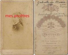 CDV  En 1875 Gabrielle DE MASSIA Fille De Gabrielle, Petite Fille Thomas SALETA 1860/1952 Par Provost à Toulouse - Fotos