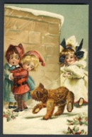 TEDDY BEAR,  Crawling On Leash - MOLLY & THE BEAR - M. Greiner A/s -embossed International Art #791  POSTCARD - Games & Toys