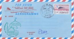 FRANCE - AEROGRAMME 3.10 CONCORDE -VOL INAUGURAL CLERMONT-FD CASABLANCA- 20.5.1983 AULNAT- SIGNATURE COMdt PLISSON /6183 - Postwaardestukken