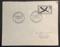135- Caravelle PA 36 Toulouse 26/1/1957 FDC Premier Jour Lettre - FDC