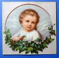 CHROMO LITHOGRAPHIE..     14.5 / 14.5 Cm ...JEUNE ENFANT  DANS UN MÉDAILLON - Autres