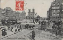 PARIS / Place SAINT MICHEL- Transports Parisiens -  ET NOTRE DAME (1908) - Plazas
