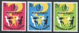 Trinidad & Tobago. 1968 Human Rights Year. MH Complete Set SG 331-333 - Trinidad & Tobago (1962-...)