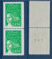 """FR YT 3458 3458a Paire """" Marianne De Luquet Roulette """" 2002 Neuf** - 1997-04 Marianna Del 14 Luglio"""