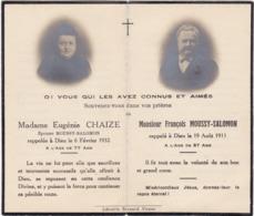 Généalogie - Faire-part De Décés - Carte Mortuaire : E. CHAIZE Et F. MOUSSY-SALOMON - - Décès