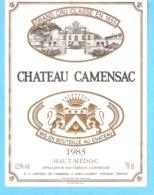 Etiquette-Vin De Bordeaux-Château Camensac-Haut-Médoc-Grand Cru Classé-1983-Saint-Laurent (Gironde) - Bordeaux