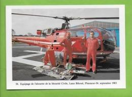 Equipage  L'Alouette  De La Sécurité Civile De Ploermeur 56. .Hélicoptère.Aviation - Matériel