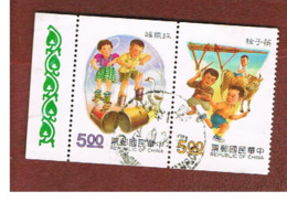 TAIWAN (FORMOSA) - SG 2056.2057  -    1992  CHILDREN GAMES (2 STAMPS SE-TENANT)    -  USED - 1945-... Repubblica Di Cina